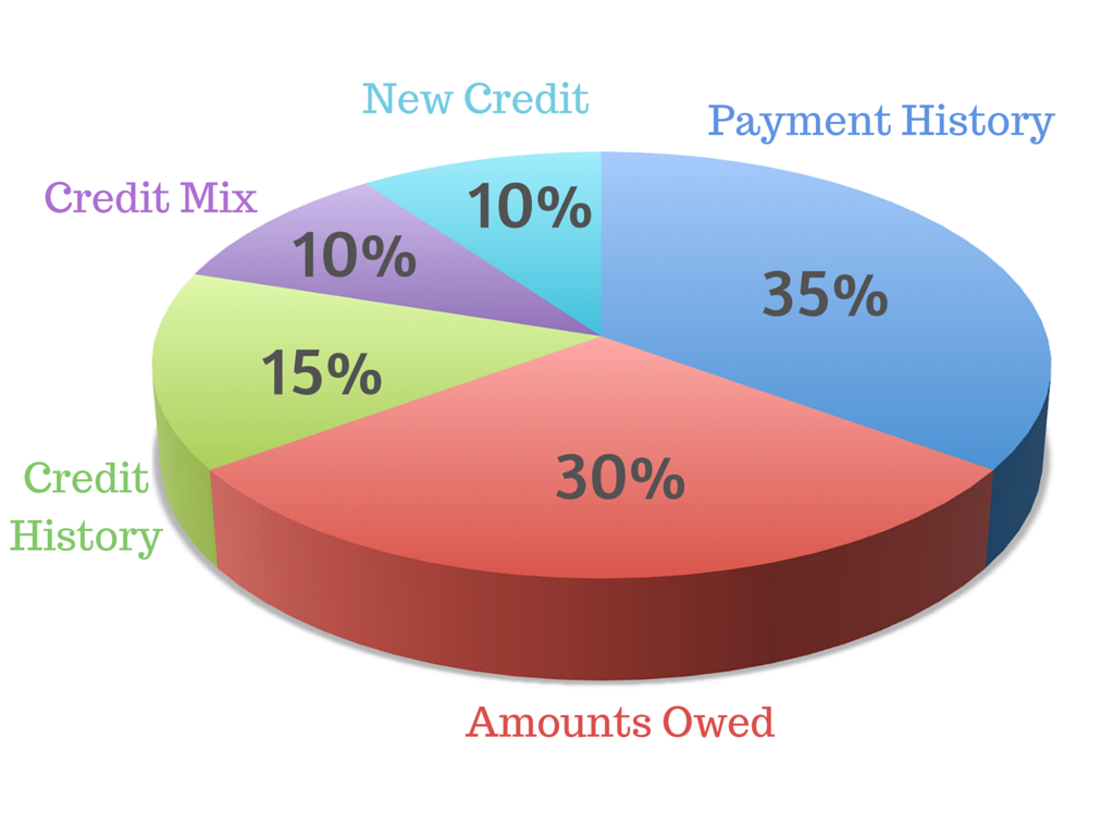 Pie chart of credit score breakdown