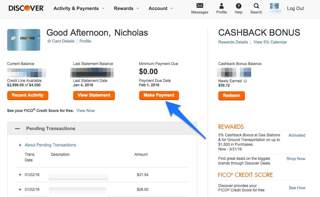 Credit Card Make a Payment
