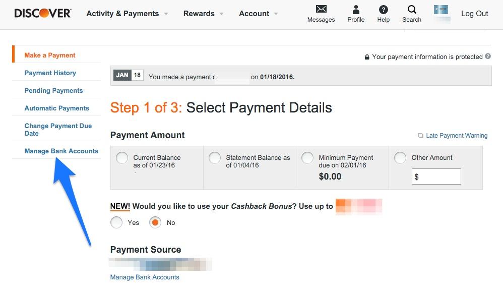Credit Card Manage bank account
