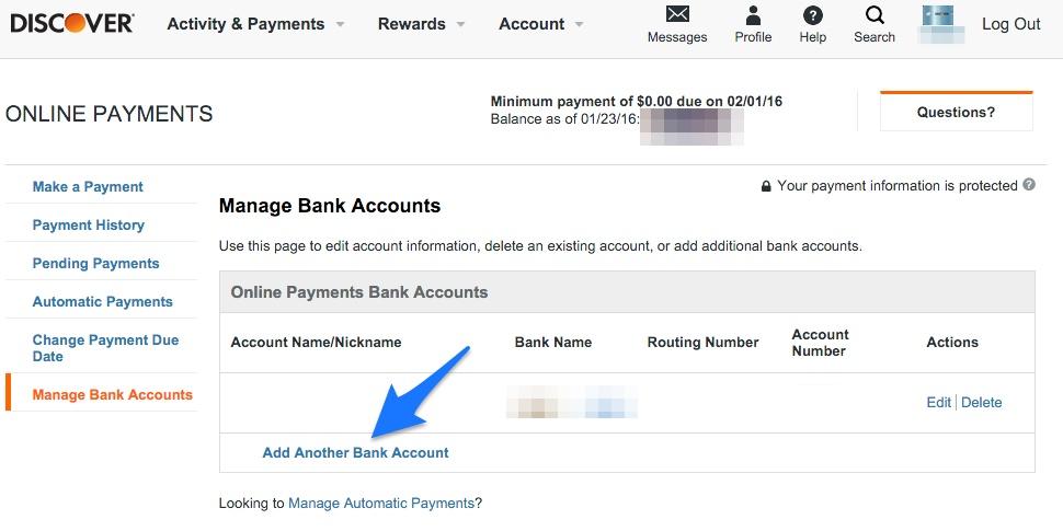 Credit Card add bank account