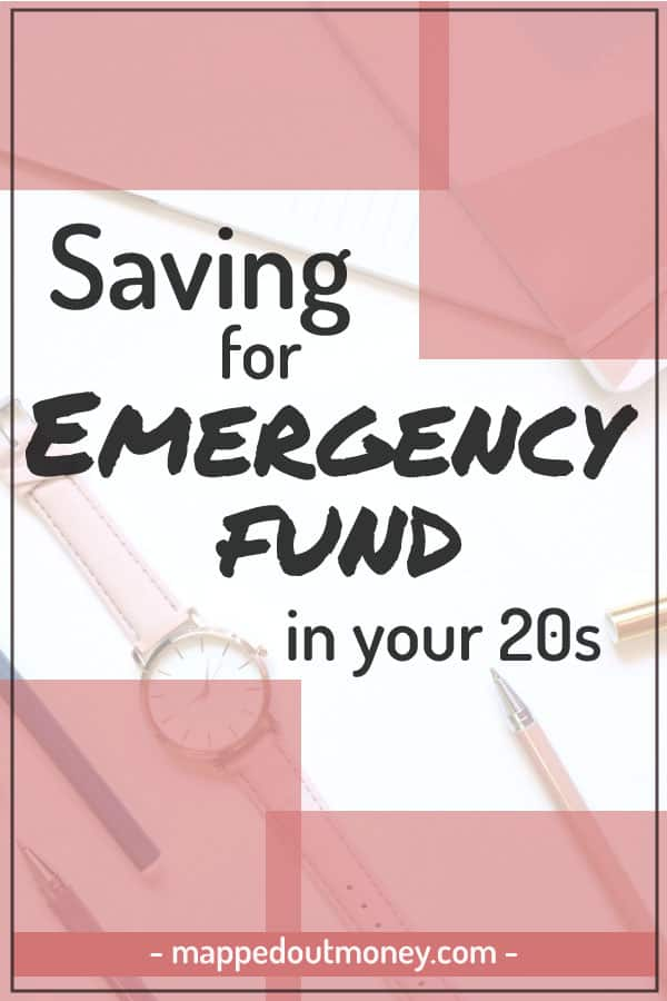 "Pinterest image with text ""Saving for emergency fund in your 20s"""