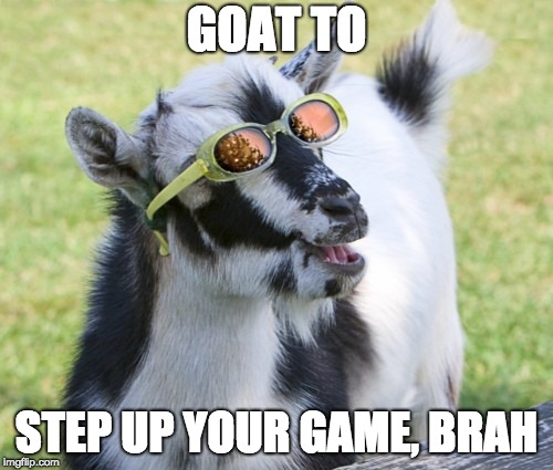 Goat wearing sunglasses with caption