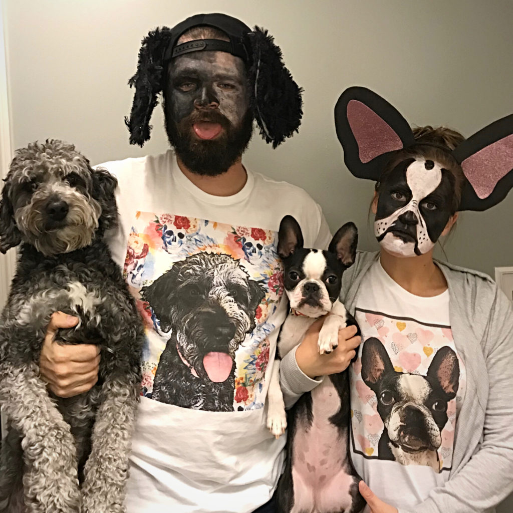 Couple dressed up as their dogs for Halloween.